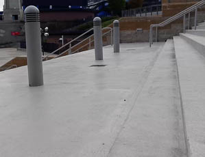 DYNA-PUR Brushable Polyurea on Stadium Stairs and Landing